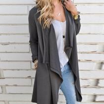 Fashion Asymmetrical Collar Long Sleeve Pocket Cardigans