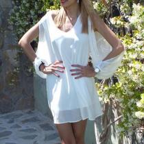 V Neck  Asymmetric Hem  Plain  Long Sleeve Casual Dresses