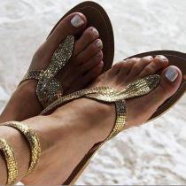 Sexy Serpentine Clip Toe Flat Sandals