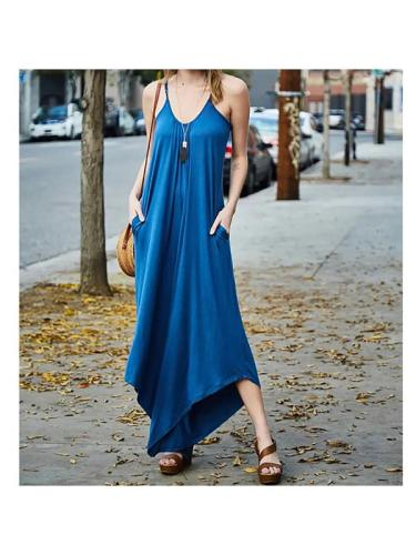 Women's Pendant Low Collar Pure Color Irregular Hem Jumpsuits