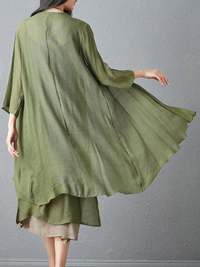 Women Two Piece Daily 3/4 Sleeve Solid Dress