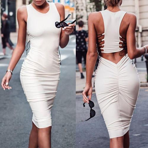 Sexy Sleeveless Round Neck Bodycon Dress