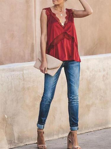 Sexy Pure Color Lace Splicing Sling Vest
