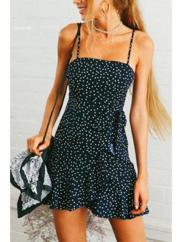 Spaghetti Strap Backless Dot Sleeveless Casual Skater Dresses