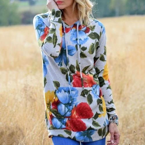 Women's Digital Print Hooded Long-Sleeved Sweater