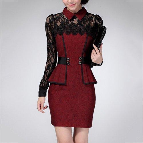 Doll Collar Peplum Patchwork See-Through Bodycon Work Dress
