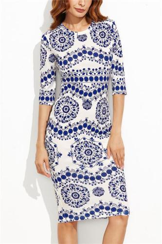 Blue And White Porcelain Printing Mid-Sleeved Round Collar Bag Hip Dress