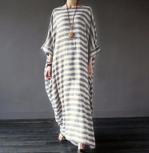 Casual Loose Size Round Collar Strips Maxi Dresses