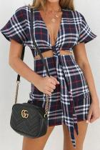Sexy Slim Plaid Deep V Collar Short Sleeve Crop Bodycon Dress