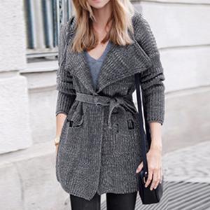 Hooded Flap Pocket Belt Plain Wrap Coat
