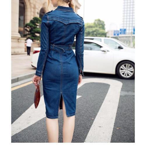 Fashion Plain Sleeve Bodycon Denim Dress