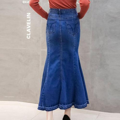 Mermaid Button Denim Bodycon Women's Skirt
