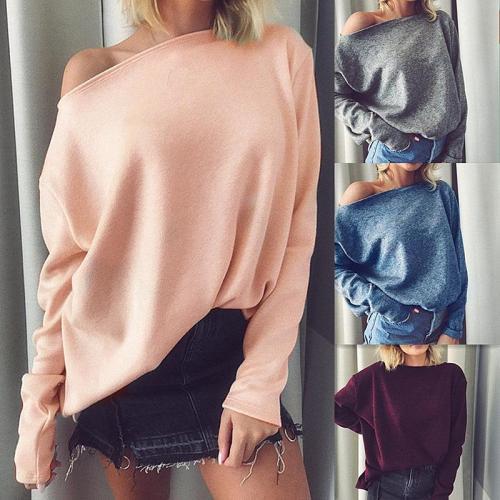 Slash Neck Long Sleeve Loose Plain Knitting T-Shirts