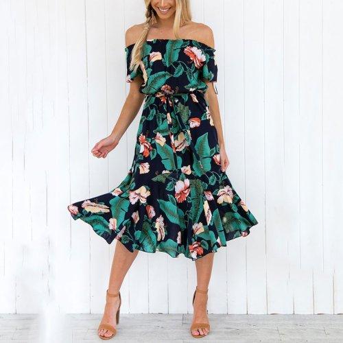 Sexy Floral Print Off Shoulder Vacation Maxi Dress