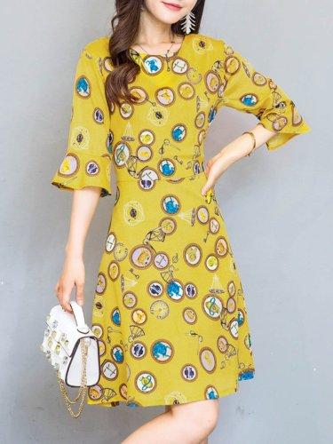 Round Neck Bell Sleeve Printed Skater Dress