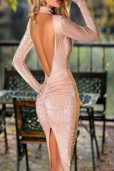 Sequined Sexy Dew Backpack Hip Evening Dress