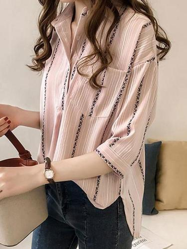 Fashion Striped Loose Big Size Shirt