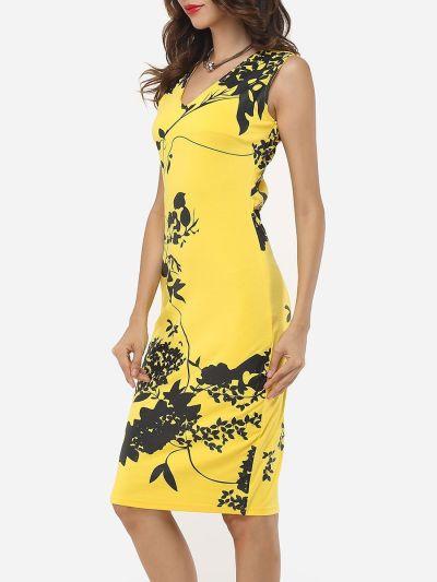 Charming Printed V Neck Bodycon Dress