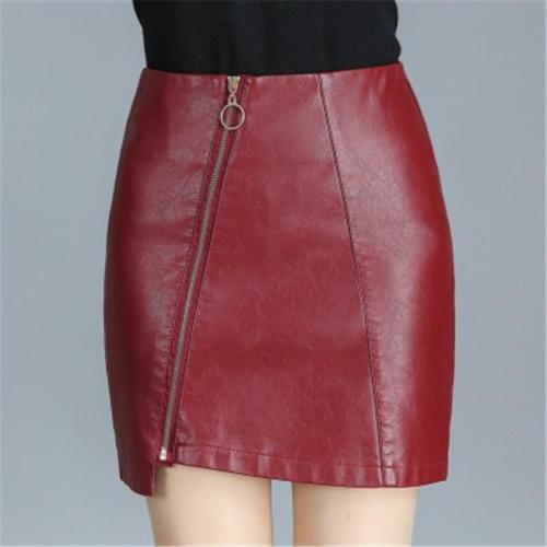 Plain Zipper Mid Waist Casual PU Women's Skirt
