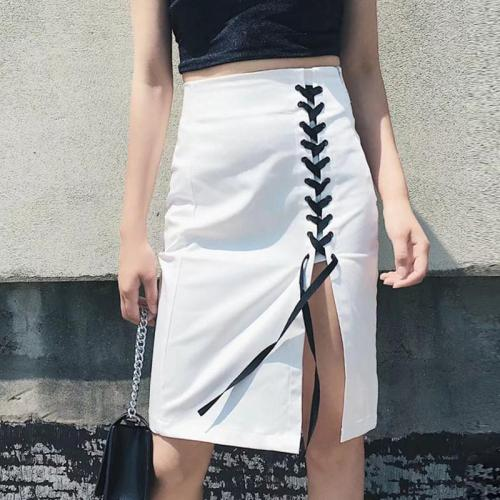 Plain Lace-up Split Forking Sexy Women's Skirt