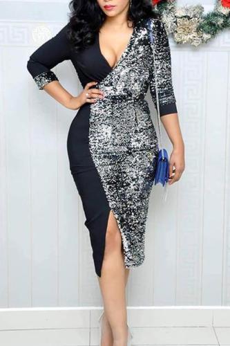 Fashion Sequins Splicing Deep V Belted Slit Bodycon Dresses