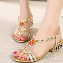 Bohemian Sandals Rhinestone Beach Shoes Women
