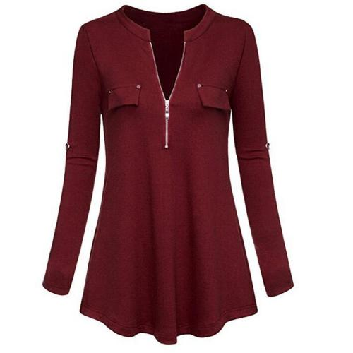 Zipper V Neck Long Sleeve Plain T-Shirts