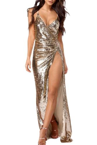 Glamorous Spaghetti Straps Sequin Evening Dress