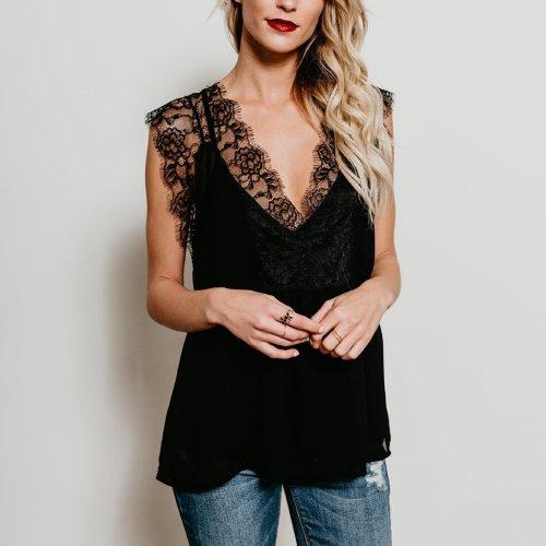 Sexy V Collar Lace Stitching Strap Sleeveless T-Shirt