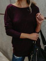 Cross Back V-Neck Long Sleeve Fashion Pullover Sweater