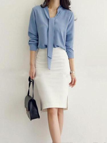 Casual Simple Pure Color Butterfly Tied Ribbon Loose Shirt