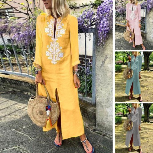 Cotton Linen Long Sleeves Casual Dress