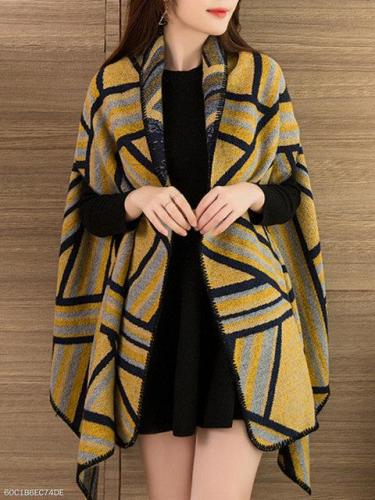 Two Way Lapel Printed Cape