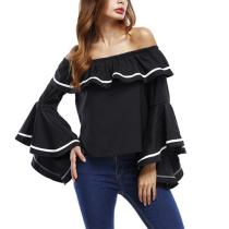 Ruffle Off Shoulder Bell Sleeve Plain Blouse