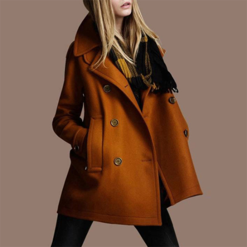 Slim Collar Double Breasted Coat