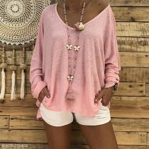 Loose Long Sleeve Plain Round Neck Casual T-Shirts