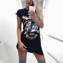 Round Neck  Letters Printed  Short Sleeve Bodycon Dresses