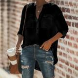 Pure Color Loose Long Sleeve Blouses