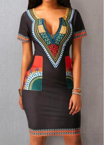 Black Split Neck Printed Pocket Dress