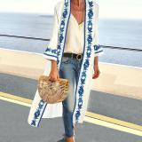 Cotton/Linen Collarless Vintage Printed Long-Sleeve Cardigan