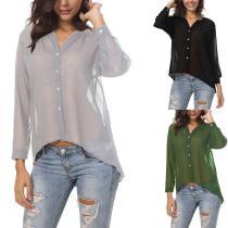 See Through V Neck Button Long Sleeve Chiffon Blouses
