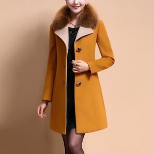 Faux Fur Collar Single Breasted Pocket Woolen Coat