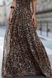 Sexy Leopard Print Sleeveless Maxi Dresses