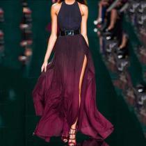 Sexy Purple Halter Neck Sleeveless Maxi Dress