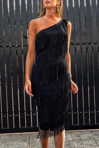 Sexy Sloping Shoulder Tassel Sleeveless Bodycon Dresses