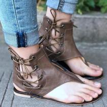 Fashion Strap Zipper Beach Flat Sandals