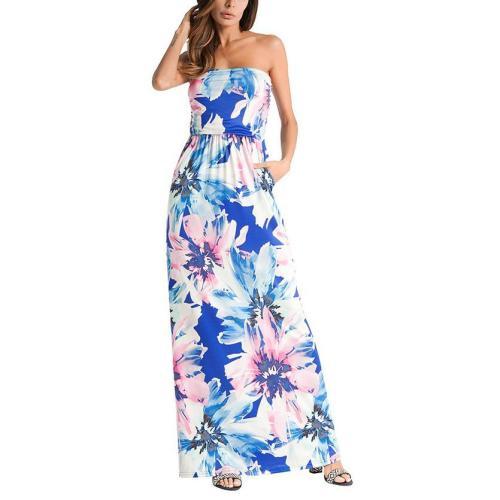 Bohemia Printing Strapless Beach Vacation Dress With Pockets
