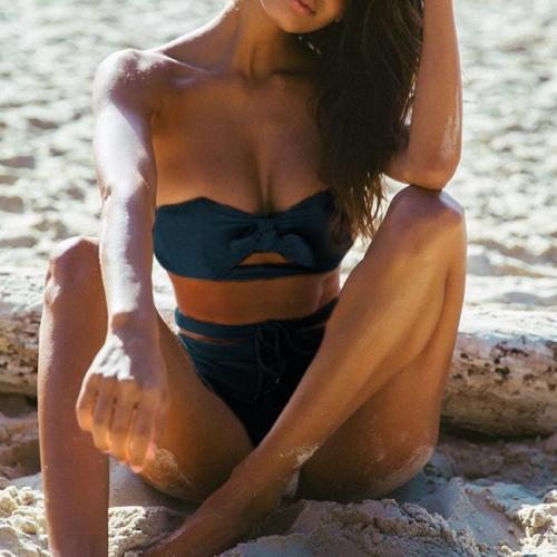 Sexy solid color strap bikini split swimsuit