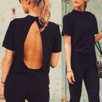 High Neck  Backless  Plain T-Shirts