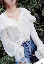 Casual V Neck Ruffled Loose Pure Colour Shirt